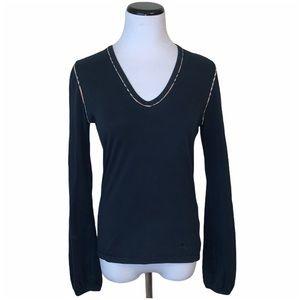 Burberry London black long sleeve v-neck top